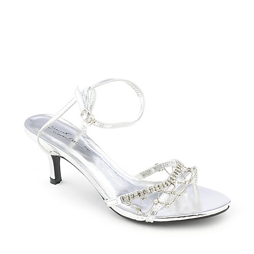 Sweet Seventeen Janne-08 silver low heel evening dress shoe