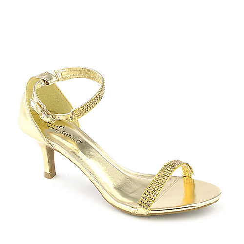 Sweet Seventeen Janee-01 gold evening low heel dress shoe