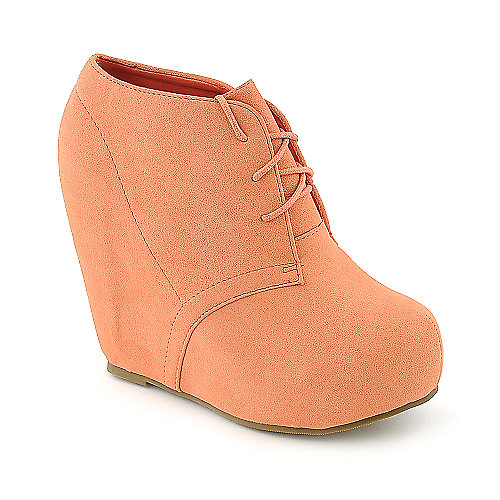 Glaze Camilla-1 peach platform ankle wedged boot