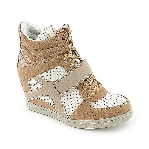 Wild Diva Sparkle-01A beige casual lace up sneaker wedge shoe