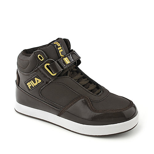 Fila Displace kids brown athletic basketball sneaker