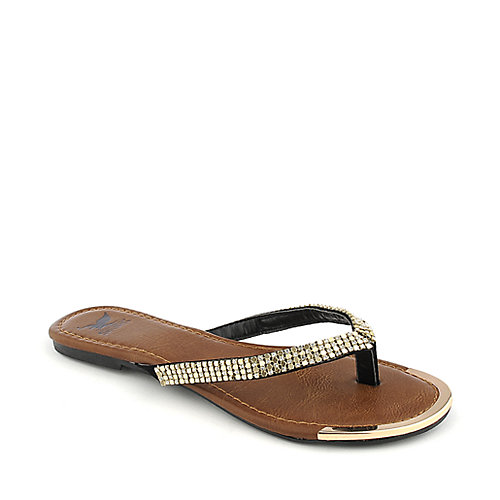Shiekh Rely-S black flat jeweled thong sandal