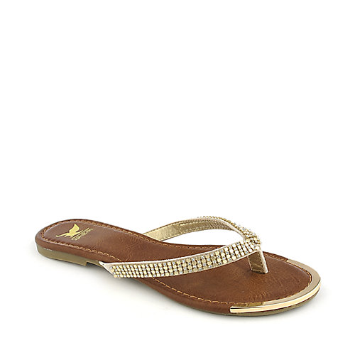 Shiekh Rely-S nude flat jeweled thong sandal