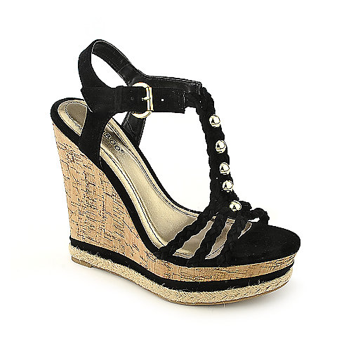 Bamboo Kingsley-03 black casual platform wedge shoe