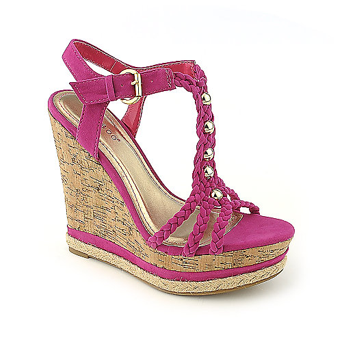 Bamboo Kingsley-03 fuschia casual platform wedge shoe