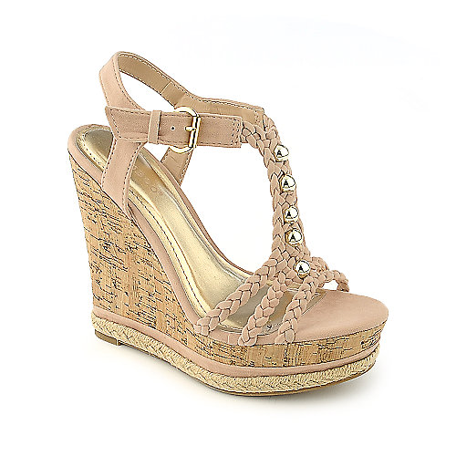 Bamboo Kingsley-03 nude casual platform wedge shoe
