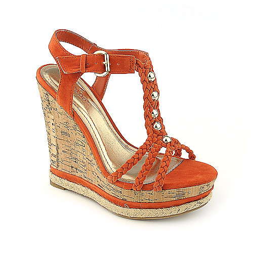 Bamboo Kingsley-03 orange casual platform wedge shoe