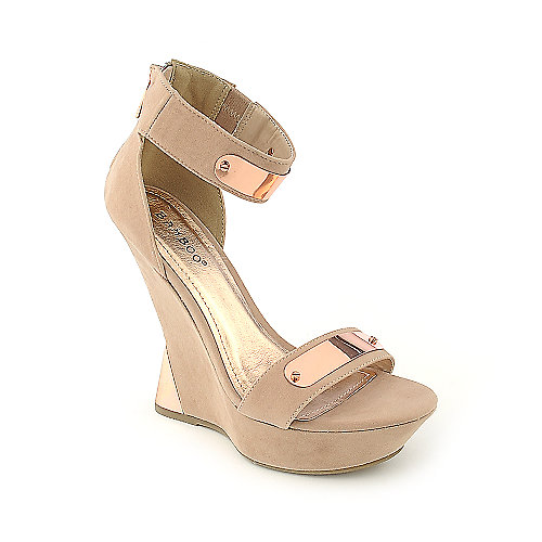 Bamboo Nicole-08 nude platform wedge dress shoe
