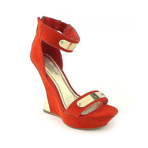 Bamboo Nicole-08 orange platform wedge dress shoe