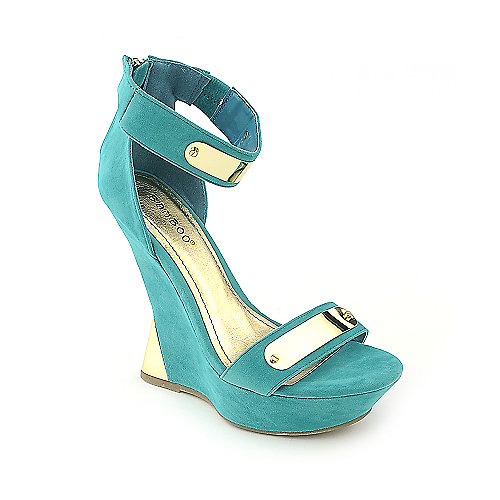 Bamboo Nicole-08 turquoise platform wedge dress shoe