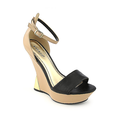 Bamboo Nicole-05 black platform wedge dress shoe
