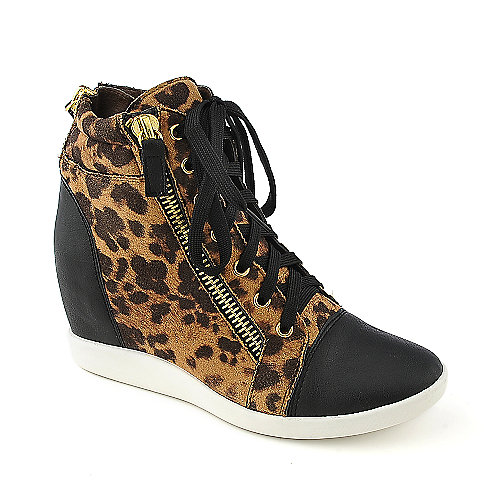 Glaze Micha-1 casual animal print sneaker wedge