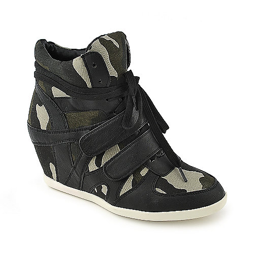 Glaze Alana-1 leopard animal print casual lace-up sneaker wedge