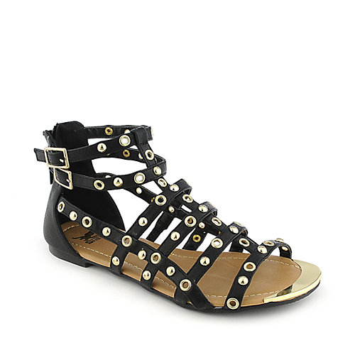 Shiekh Womens 097 black strappy flat gladiator sandal
