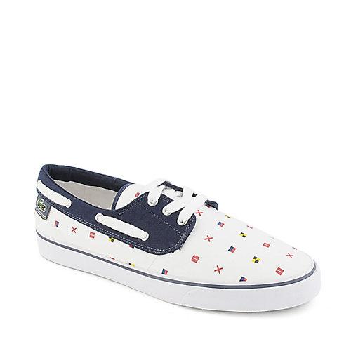 3473ace8ec9456 Lacoste Barbuda white navy canvas lace up boat shoe