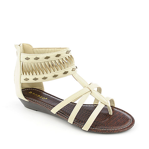 Bamboo Latte-18 beige gladiator thong wedge sandal
