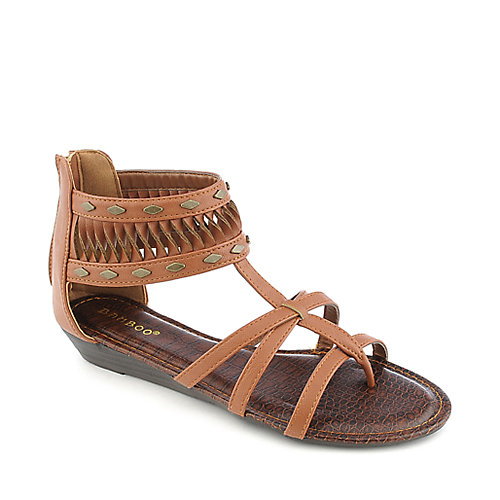 Bamboo Latte-18 chestnut gladiator thong wedge sandal