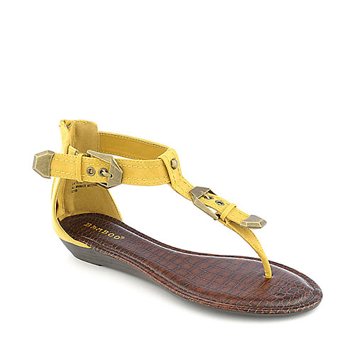 Bamboo Latte-22 mustard low wedge thong sandal