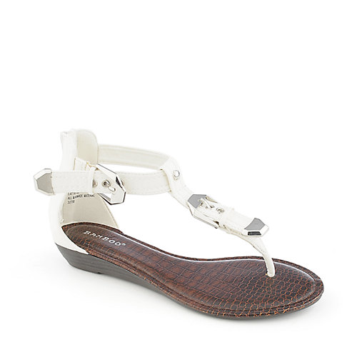 Bamboo Latte-22 white low wedge thong sandal