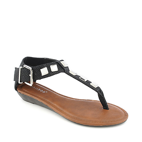Bamboo Latte-23 black wedge thong sandal