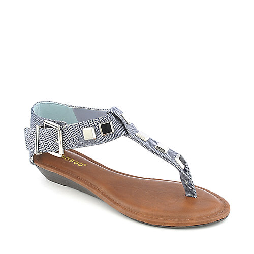 Bamboo Latte-23 blue wedge thong sandal