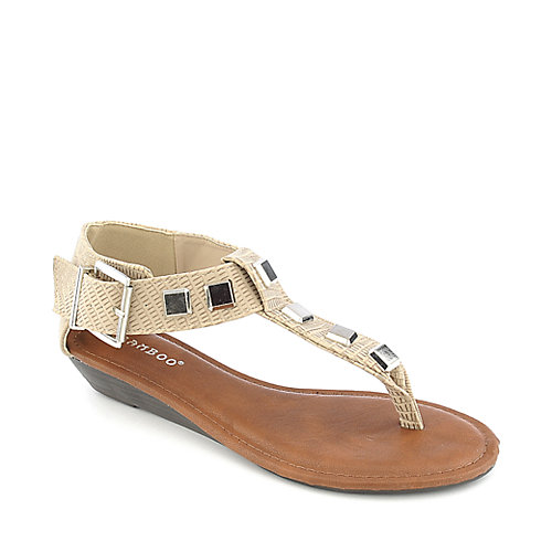 Bamboo Latte-23 natural wedge thong sandal
