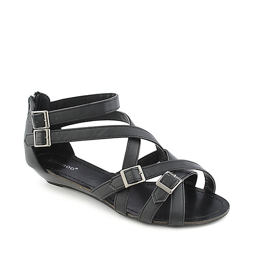 Bamboo Denisa-98 black low wedge sandal