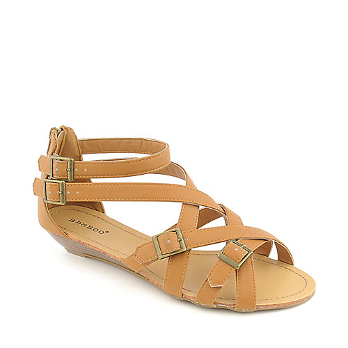 Bamboo Denisa-98 chestnut low wedge sandal