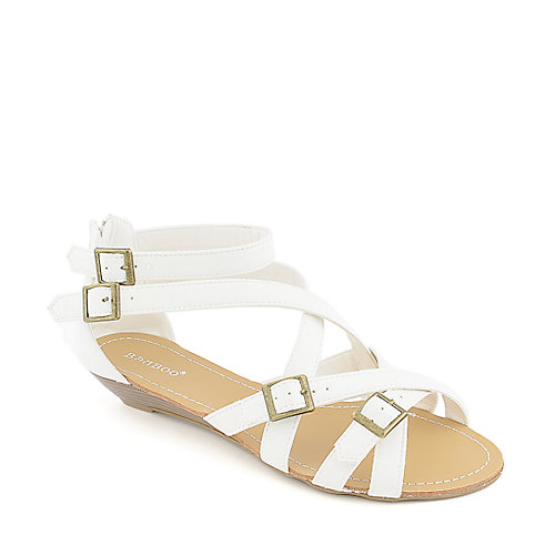 Bamboo Denisa-98 white low wedge sandal