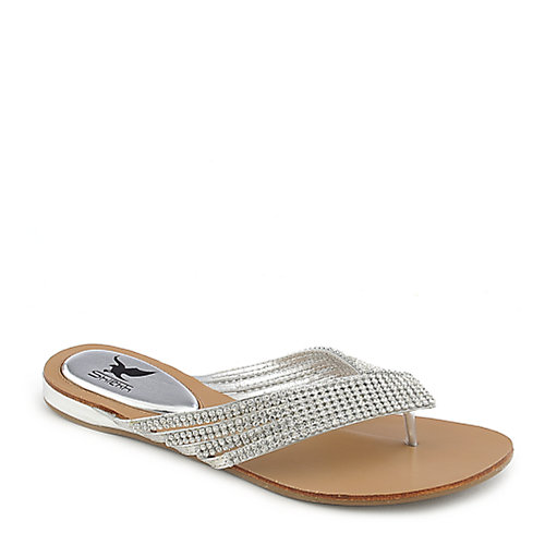 Shiekh Kylie-09 silver flat jeweled thong sandal