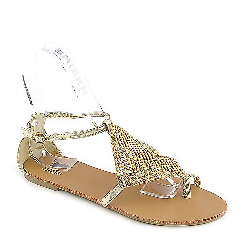 Shiekh Kylie-11 gold flat jeweled sandal
