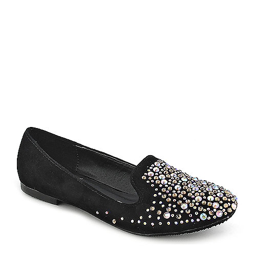 Shiekh Leila-30 black flat slip on casual shoe