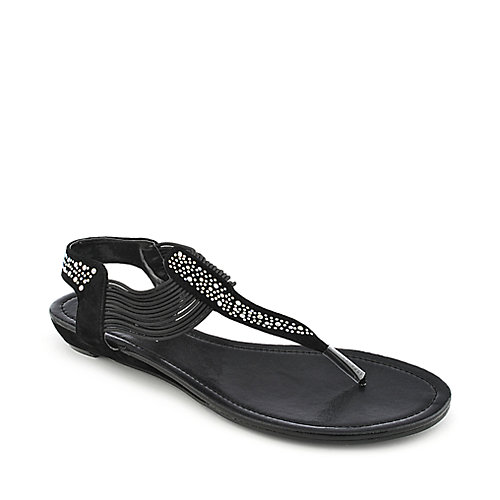 Nature Breeze Ariel-12 black flat thong sandal