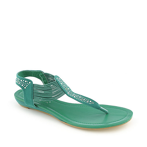 Nature Breeze Ariel-12 teal flat thong sandal
