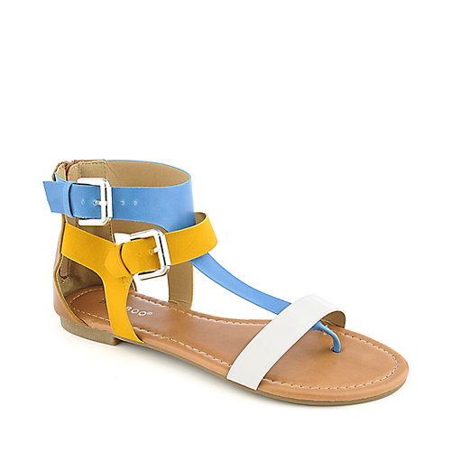 Bamboo Grayson-05 multi-color flat strappy thong sandal