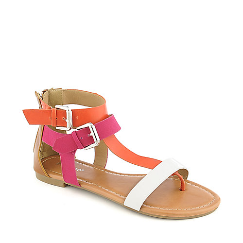 Bamboo Grayson-05 pink/multi-color flat strappy thong sandal