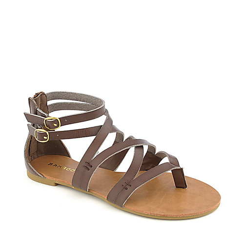 Bamboo Laguna-25 brown flat strappy gladiator sandal