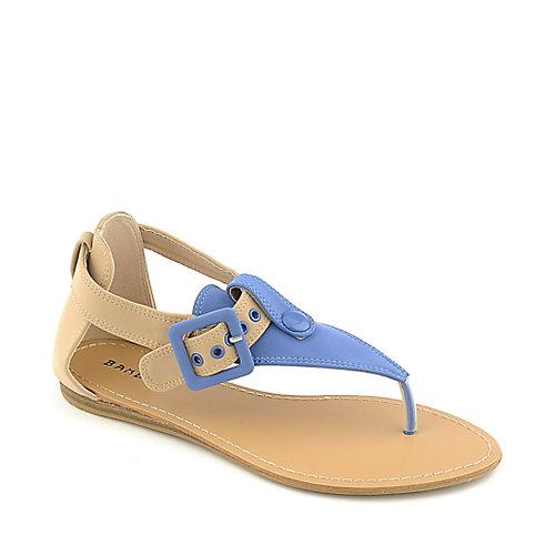 fcc2518bcad781 Bamboo Steno-73 blue flat t-strap thong sandal