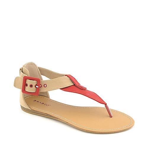 50d414dd85f9f3 Bamboo Steno-73 red flat t-strap thong sandal