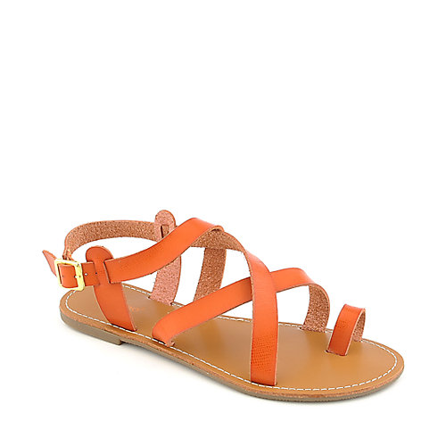 Bamboo Warner-14 orange flat slingback strappy sandal
