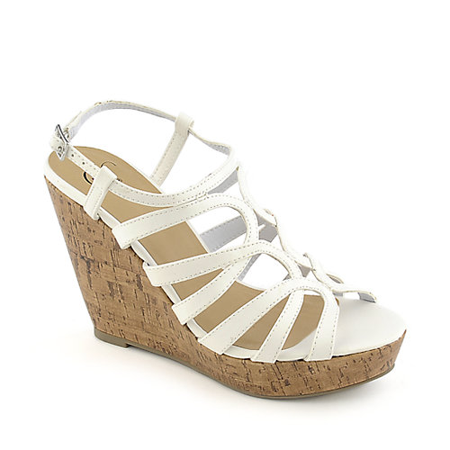 Delicious Syrus-H white casual platform wedge shoe