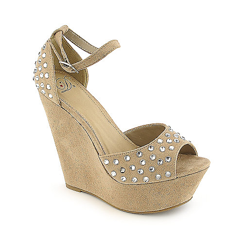 Delicious Spice-S oatmeal platform wedge dress shoe