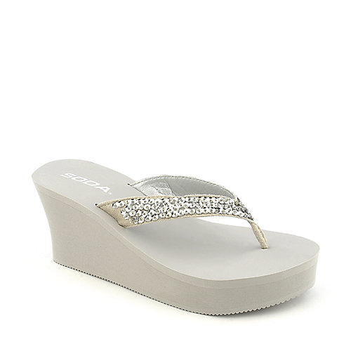 Soda Tyra-S grey platform wedge thong sandal