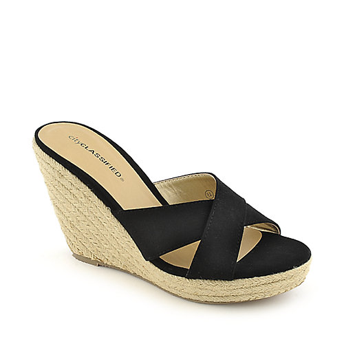 City Classified Mixer-H black platform slip on espadrille wedge