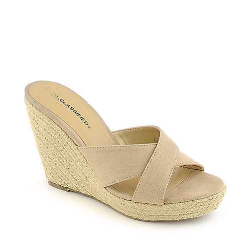 City Classified Mixer-H oatmeal platform slip on espadrille wedge