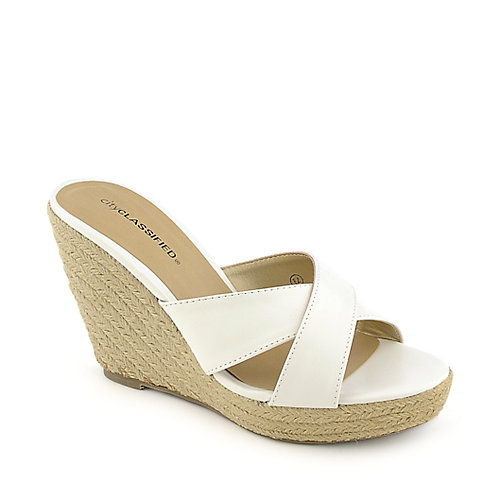 City Classified Mixer-H white platform slip on espadrille wedge