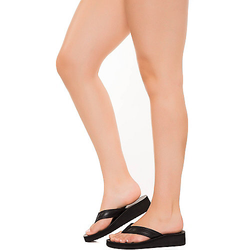 Soda Surf-S black platorm wedge thong sandal