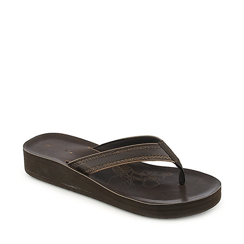 Soda Surf-S brown platorm wedge thong sandal