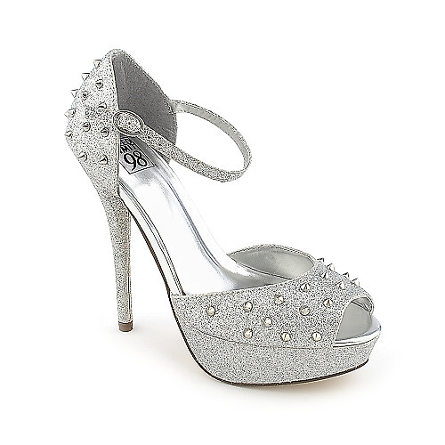 Speed Limit 98 Shakia-S silver platform spiked high heel dress shoe