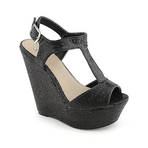 Delicious Idiom-S black platform slingback wedge dress shoe